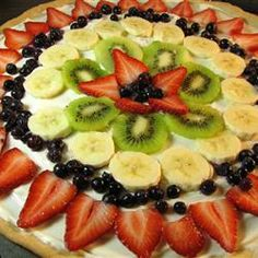 """Fruit Pizza Even Better Allrecipes.com  LOVE this recipe for fruit pizza!!  Need a shortcut for the white """"sauce""""? Use one container prepared white fruit dip!"""