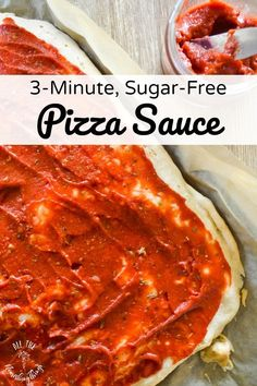 Easy Sugar-Free Pizza Sauce Save lots of money and avoid the refined oils and added sugars in store-bought pizza sauce. Whip up this easy, sugar-free pizza sauce in just 3 minutes! Works for paleo, keto, Trim Healthy Mama, and gluten-free lifestyles! Healthy Pizza Sauce, Keto Pizza Sauce, Whole30 Pizza, Sugar Free Pizza Sauce Recipe, Homemade Pizza Sauce, Low Carb Recipes, Real Food Recipes, Cooking Recipes, Healthy Recipes