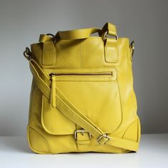 Yellow Leather Handbag/ Leather Tote/ Yellow by TheLeatherStore