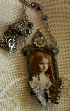 Soldered Glass Assemblage Necklace Flutterbye by Vintagearts