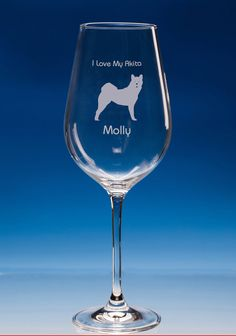 Akita Dog Lover Gift Engraved Personalised Fine Quality Wine Glass - Your Name and Message - Birthday Gift - Christmas Gift - Dog Lover Gift