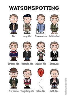 """redscharlach: """"Behold, a set of mini John Watsons to suit all circumstances and social events! This twin for my earlier Sherlockspotting design is now available on a range of products in my Redbubble shop, if you know somebody who would enjoy a. Sherlock Actor, Sherlock Cast, Sherlock Holmes Bbc, Benedict Sherlock, Sherlock Fandom, Sherlock John, Johnlock, Benedict Cumberbatch, 221b"""