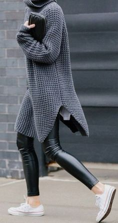 This long sweater is awesome. Black Leather Leggings and Sneakers. #long