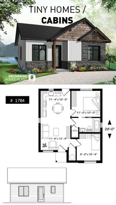 Contemporary rustic home, scandinavian inspired, low building costs, ideal for first-home buyers, 2 bedrooms Rustic House Plans, Cottage Floor Plans, Small Rustic House, 2 Bedroom House Plans, Low Cost House Plans, Tiny House 2 Bedroom, Tiny House Living, Small House Layout, Small House Floor Plans