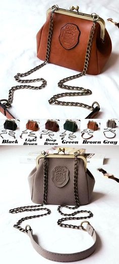 Retro Frosted Retro Crip Shell Shape Metal Chain Belt Small Lady PU Shoulder Bag for big sale! #frosted #Pu #retro #small #bag #shoulder #retro