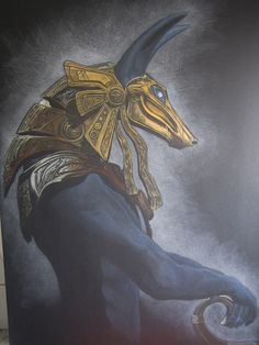 Anubis by Marta Simacsek Anubis, a popular subject of artist. Anubis is one of the most iconic gods of ancient Egypt. Anubis is the Greek version of his name, the ancient Egyptians knew him as Anpu (or Inpu). Anubis was an extremely ancient deity whose name appears in the oldest mastabas of the Old Kingdom and the Pyramid Texts as a guardian and protector of the dead.