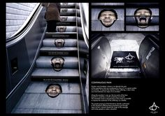 Douleurs Sans Frontières: Continuous Pain - In a lot of countries, people live with pain continously. | #escalator #sticker #indoor #awareness #guerrilla #marketing #public #print #creative #sensationmarketing #guerillamarketing #guerilla #btl