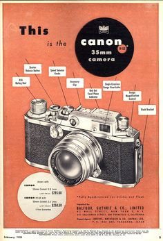 vintagecameraporn:  Popular Photography Feb. 1953. Canon Rangefinder Advertisement.