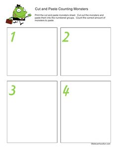 Cut out the Monster Counting Worksheet