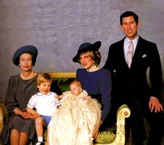 The Queen, Prince William, Diana, Prince Harry & Charles at Prince Harry's christening.