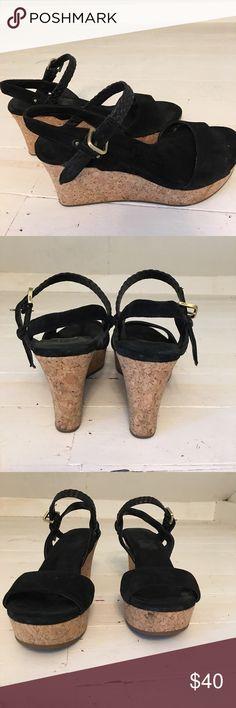 Ugg sandals Black with cork wedge. Ugg sandals! UGG Shoes Wedges