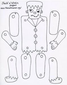 Frankenstein's monster puppet pattern for use with kids Theme Halloween, Halloween Arts And Crafts, Holidays Halloween, Moldes Halloween, Adornos Halloween, Halloween Coloring, Preschool Crafts, Paper Dolls, Google Drive