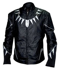 Captain America Civil War Black Panther Black Leather Jac...