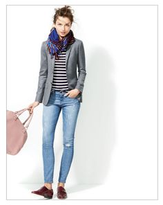 J.Crew Toothpick jean in Distressed Cone Denim® Again, a perfect outfit