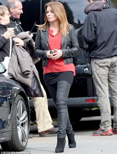 Off to work she goes: Alison King was spotted on the Manchester set of Coronation Street o...