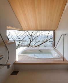 I don't know why I want to be able to see outside while I'm in the tub, but I do... Don't judge me!   Bathroom from Wind-dyed House by Kazuhiko Kishimoto