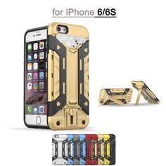 """Hybrid 2 in 1 Phone Case Hard Duty Armor PC+TPU Silicone Back Cover With Card Slot Protective Shells Covers for iPhone 6 6S 4.7"""""""