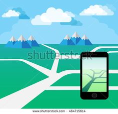 Hand Holding Smart Phone. Play a Mobile Game Using Location Information. Day…