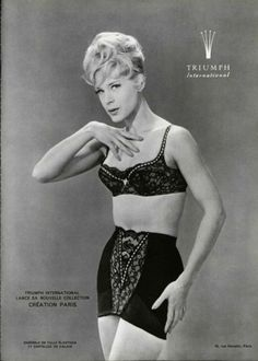 Triumph Underwear Ad - 1962, black lace bra and girdle