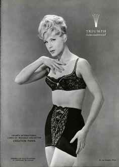 Triumph Underwear Ad - 1962, black lace bra and girdle