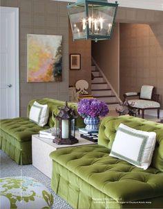 Beautiful, double green love seats