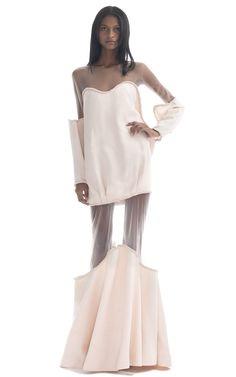 Shop Paula Raia Long Sleeved Pale Pink Illusion Gown