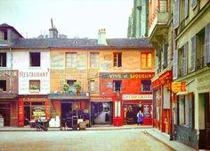 Photos de Paris en couleur en 1900  Le Passage du Caire vu depuis le n°5 de la Rue Sainte-Foy 1900