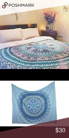 """Bed spread wall hanging hombre sheets gift Brand new.Handmade with natural dyes.   Uses: bed spread, couch spread, curtains, wallhangings, Celling decor, beach mat, picnic mat, table cloth, yoga & meditation.  Size: 90"""" X 84"""" inch ( Queen bed)   Material: 100% Cotton (thick material)   Wash: cold wash Jackets & Coats Puffers"""