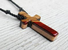 Wood Cross Necklace  Ebony, Bloodwood, Maple & Zebrawood by TheLotusShop, $16.95