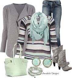 """Striped cozy"" by amabiledesigns on Polyvore  Love the soft, lovely colors."