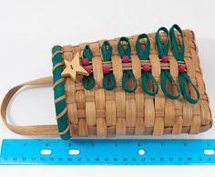 "Vtg Christmas Tree Holiday Hanging Wicker Basket Mail Letters Flowers Organizer | eBay 5"" x 9"""