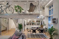 Cool Modern Loft Apartment with Mezzanine in Gothenburg, Sweden, by Alvhem Mäkleri & Interiör