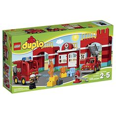 Join the firefighters on duty at the LEGO DUPLO Fire Station! Play with the 2 shiny fire vehicles at the Fire Station including 2 firefighter LEGO DUPLO figures wrench flame and a fire-bell brick. G...