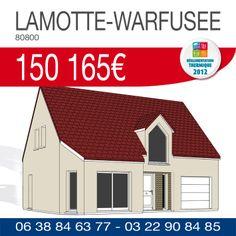 #ResidencesPicardes vous propose ce pavillon avec étage d'une surface de 91 m² comprenant 3 chambres, salle de bains et un garage à LAMOTTE-WARFUSEE (80800) pour 150 165€ TTC*