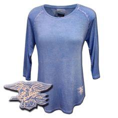 Ladies Trident Oasis Wash Periwinkle 3/4-Sleeve Tshirt