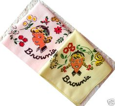 1950s Cute Brownie Girl Scout Handkerchief