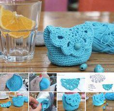 Cute crochet coin purse, free pattern (in Italian). Crochet Simple, Crochet Diy, Crochet Amigurumi, Love Crochet, Crochet Gifts, Crochet Hooks, Tutorial Crochet, Crochet Cocoon, Purse Tutorial