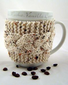 Coffee Mug Cozy Cable Stitch in Aran Fleck by TravisTreasureBox, $10.00