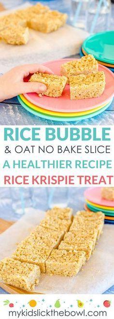No-bake rice bubble oat slice a healthy Rice Krispie treat recipe for kids