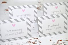 12 Girls Baby Shower Food Label Buffet Cards or Placecards - Pink and Gray - Baby Shower, Bridal Shower, Birthday Decorations on Etsy, $10.00