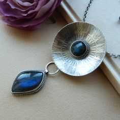 Labradorite and oxidized sterling silver.