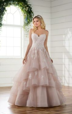 D2275 Princess Wedding Dress with Lace and Tulle Skirt by Essense of Australia