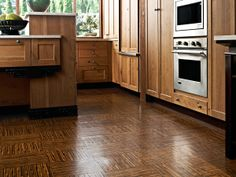 cork floor-i love the contrast, could pull different wood colors together that already exist in our house.
