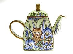 Miniature Teapot enamel finish Trade Plus Aid Ginger Cat Design