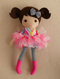 Reserved for Talia Fabric Doll Rag Doll Brown by rovingovine