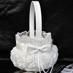 Holy Romantic Rose Bowknot Satin Wedding Ceremony Party Flower Girl Basket White #Unbranded