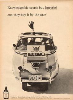 1958 Imperial Whiskey BMW Isetta Mini-Car PRINT AD