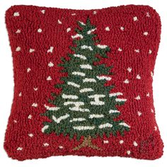 "In all it's glory, this unadorned Christmas tree pillow is the very essence of simplicity. Bring it into your home for the holidays!14"""" x 20"""" hand hooked throw pillow, with with 100% wool. Zippered"