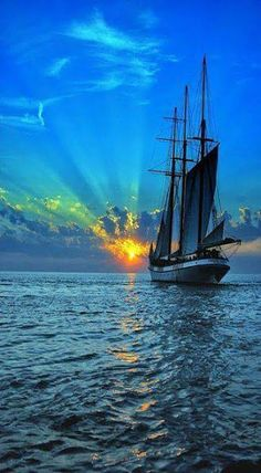 """sailing into the sunset """"I like how the water looks very realistic as well as the sky. The ship seems almost like a symbol in this picture because it's keeps sailing from day in to sunset"""" Tall Ships, Beautiful Sunset, Beautiful Places, Beautiful Scenery, Amazing Places, Cool Pictures, Cool Photos, 2 Photos, Beautiful Pictures"""