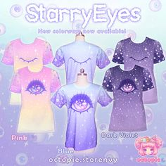 ☆ Sparkly floating eyeballs help to create this creepy cute look perfect for a pastel goth or fairy kei coordinate! ☆ Three colorways are available: Blue, Pink, and Dark Violet ☆ Shirt Sizes in Womens or Mens: XS, S, M, L, XL, 2XL, 3XL (extra fee for 2XL and 3XL) Womens Measurements: